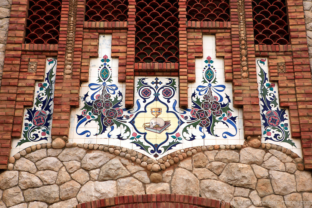 Europe, Spain, Novelda. Tiles of Santa María Magdalena, built by disciple of Gaudi.