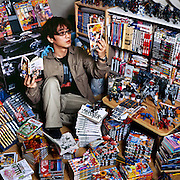 Shiraki, 36, is a web designer who collects manga and figurines from the seminal Japanese anime series Mobile Suit Gundam. He started collecting manga in elementary school, but got into figures only about four years ago. He has more than 1,000 manga books of all kinds and about 300 figures. He spends about 50,000 yen a month for figurines and 50,000 a month for manga. He reads manga for about three hours everyday at home and one hour commuting on the train.