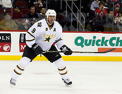 November 28, 2007; Newark, NJ, USA;  Dallas Stars center Mike Modano (9) waits for the puck during the first period of the Stars games against the New Jersey Devils at the Prudential Center in Newark, NJ.