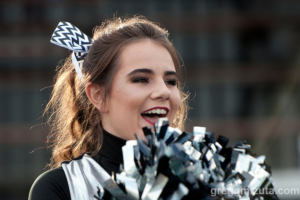 Vale cheer member Piper Wolfe during Vale's season opening 38-0 win over Parma on September 2, 2016 at Vale, Oregon.