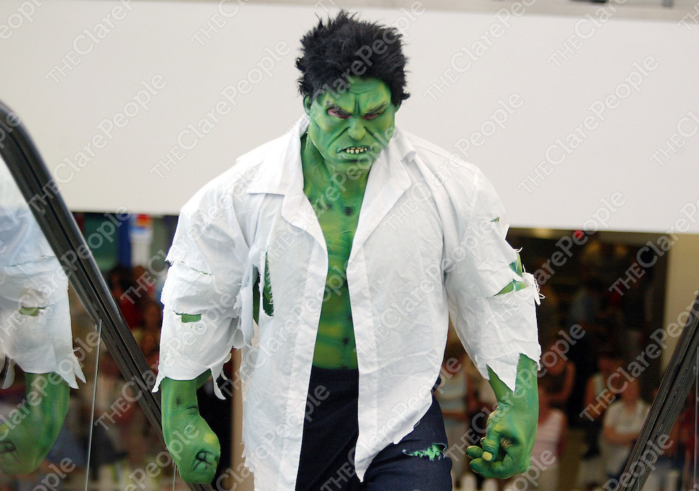 060905<br /> The Incredible Hulk made a guest appearance during a fashion show of Escape,Dressco,Prego, Dunnes Stores and Pink clothing at the Skycourt Shopping Centre in Shannon town sponsored by the Shannon Chamber of Commerce to launch their Affinity Club Card.Pic Arthur Ellis/Press 22.