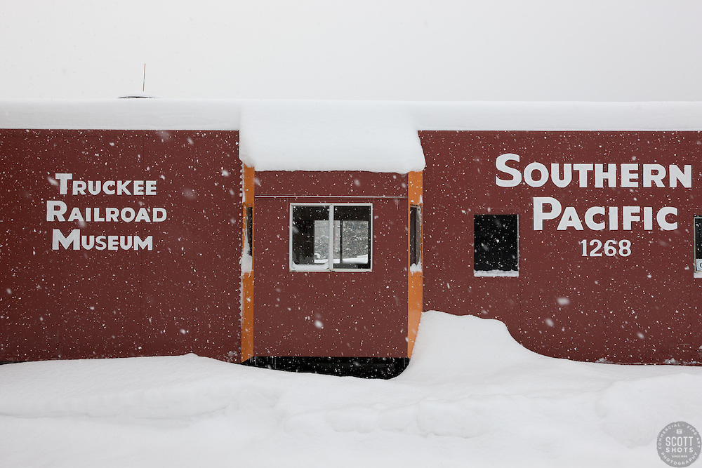 """Snowy Truckee Railroad Museum"" - This snow covered Southern Pacific Railroad Museum was photographed in the early morning in Downtown Truckee, California."