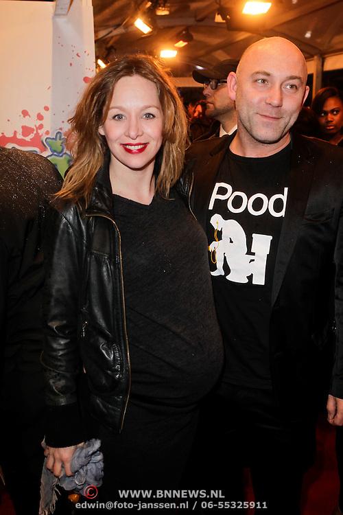 NLD/Amsterdam/20120213 - Filmpremiere Zombibi, Loek Peters en zwangere partner Ilse Heus