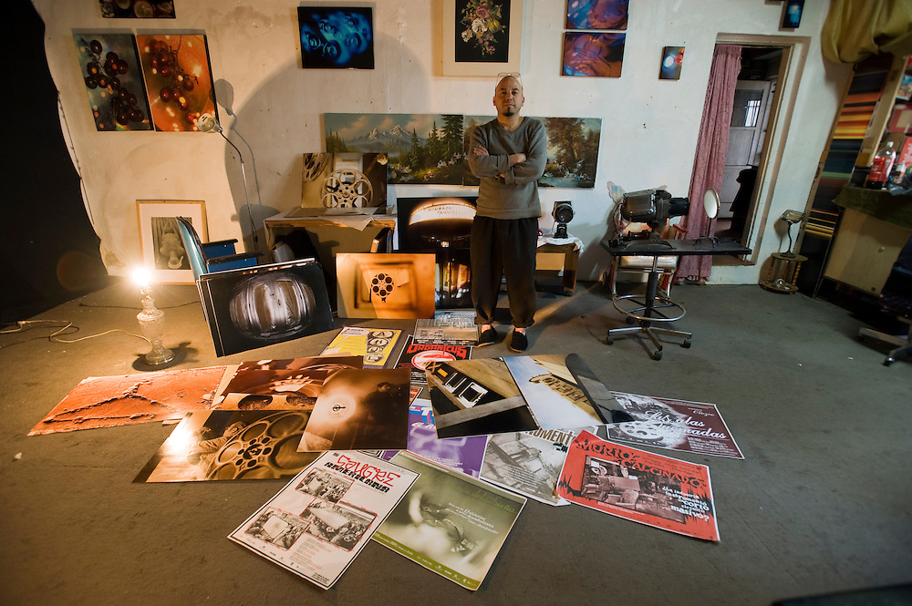 Tijuana Mexico ..photo artist Julio Orozco at his studio.While working on this long term project 'La Frontera' I want to examine the cultural and humanitarian activities on both sides of a border that keeps the United States and Mexico apart with a wall of steel already 600 miles long. The turf wars of drug cartels, arms trafficking and rampant kidnappings turned cities like Tijuana into some of the most dangerous places on earth. Despite the violence many brave artists, photographers, architects, poets, humanitarians, teachers etc live and work in the shadow of the wall on both sides and have a positive influence on this region; they are the focus of my long term project along the border. (Over time I plan to cover the entire length from the Atlantic to the Pacific, these images were taken in and around Tijuana).© Stefan Falke