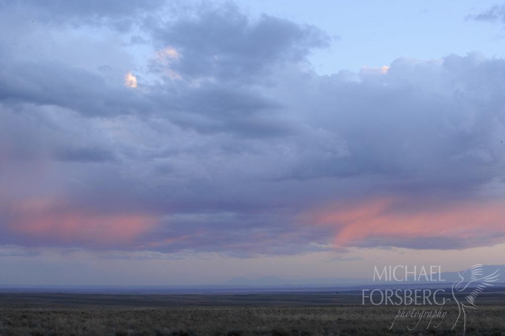 Shortgrass prairie region - Front Range, CO..Bohart Ranch. pink sunset..Assorted landscapes with Front Range, sandsage prairie and thunderheads..