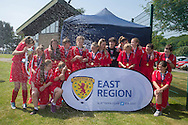 Farmington celebrate with the cup - Forfar Farmington (red) v Raith Rovers (dark blue) - Under 15 East Region Girls League Cup Final at University Grounds, Riverside<br /> <br />  - &copy; David Young - www.davidyoungphoto.co.uk - email: davidyoungphoto@gmail.com
