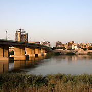 The Al-Sinak bridge across the Tigris river at dusk in downtown Baghdad August 26, 2010.  Credit: Scott Nelson for the Wall Street Journal.Slug: War