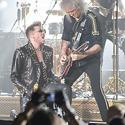 COLUMBIA, MD - July 20th, 2014 - Adam Lambert and Brian May of Queen perform at Merriweather Post Pavilion in Columbia, MD. Lambert is handling vocal duties for the group on their current US tour. (Photo by Kyle Gustafson / For The Washington Post)