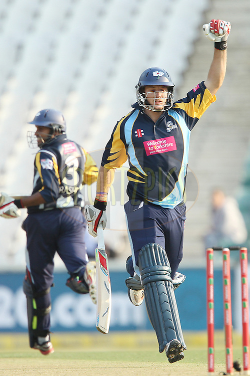 David Miller celebrates the win during 1st Qualifying match of the Karbonn Smart CLT20 South Africa between Uva Next and Yorkshire held at The Wanderers Stadium in Johannesburg, South Africa on the 9th October 2012..Photo by Ron Gaunt/SPORTZPICS/CLT20