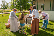 Big Horn County Historical Museum, Hardin, Montana, school children learning pioneer skills