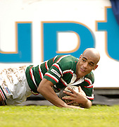 Leicester, ENGLAND, Tom Vandell, touch's down in the corner, Guinness Premiership Rugby,  Leicester Tigers vs London Wasps © Peter Spurrier/Intersport-images.com.