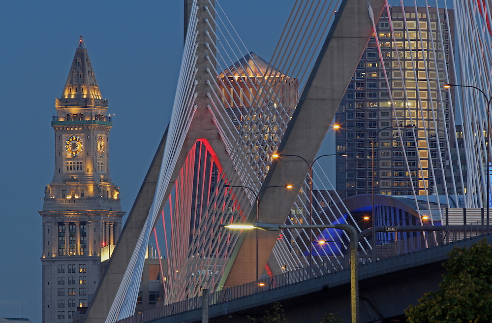 Boston landmark photography from New England based fine art photographer Juergen Roth showing landmarks such as the Custom House of Boston, Leonard P. Zakim Bunker Hill Memorial Bridge, One International Place and the TD Bank North Garden home to the Boston Bruins and Celtics captured on a beautiful late summer night at twilight.<br /> <br /> This photo of Custom House of Boston, Leonard P. Zakim Bunker Hill Memorial Bridge, One International Place and the TD Bank North Garden is available as museum quality photography prints, canvas prints, acrylic prints or metal prints. Prints may be framed and matted to the individual liking and wall decoration needs: <br /> <br /> http://juergen-roth.artistwebsites.com/featured/i-got-my-red-dress-on-tonight-juergen-roth.html<br /> <br /> Good light and happy photo making! <br /> <br /> My best,<br />  <br /> Juergen<br /> www.RothGalleries.com <br /> www.ExploringTheLight.com <br /> http://whereintheworldisjuergen.blogspot.com<br /> https://twitter.com/naturefineart<br /> https://www.facebook.com/naturefineart