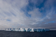 February 18th 2007. Southern Ocean. A bird flies past an iceberg in the Ross Sea.