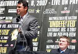 September 19, 2007; New York, NY, USA; Oscar DeLaHoya at the press conference announcing the bout between World Welterweight Champion Floyd Mayweather Jr and World Junior Welterweight Champion Ricky Hatton (r).  The fight will take place on December 8, 2007 at the MGM Grand Garden Arena in Las Vegas, Nevada.