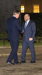 Downing Street, London, February 4th 2016. President of the European Parliament Martin Schulz meets with British Prime Minister David Cameron at 10 Downing Street. PICTURED: David Cameron greets Martin Schulz as he arrives in Downing Street ///FOR LICENCING CONTACT: paul@pauldaveycreative.co.uk TEL:+44 (0) 7966 016 296 or +44 (0) 20 8969 6875. ©2015 Paul R Davey. All rights reserved.