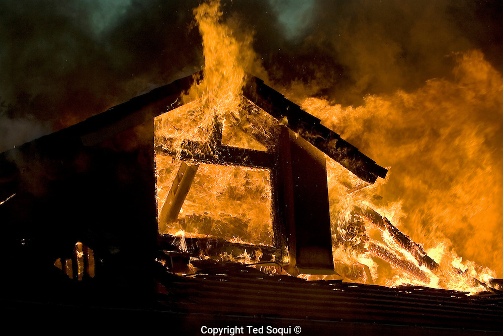Wild fire burns in the community of Yorba Linda