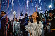 Graduating seniors at J.E.B. Stuart High in Falls Church Virginia celebrate the end of high school.
