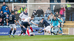 Falkirk's Blair Alston shots into Dundee's Adam Cummins.<br /> Dundee 0 v 1 Falkirk, Scottish Championship game played today at Dundee's Dens Park.<br /> &copy; Michael Schofield.