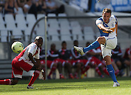 CAPE TOWN, South Africa - Saturday 26 January 2013, Shkelzen Gashi of Grasshopper Club Zurich takes a shot at goal during the soccer/football match Grasshopper Club Zurich (Switzerland) and Ajax Cape Town at the Cape Town stadium..Photo by Roger Sedres/ImageSA