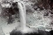 WA09418-00...WASHINGTON - Frozen Snoqualmie Falls on the Snoqualmie River near the town of Snoqualmie.