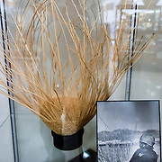 Grandma Dina Doc (aka Tina or Stina) weaves a twined basket. Eastern California Museum, 155 N. Grant Street, Independence, California, 93526, USA. The Museum was founded in 1928 and has been operated by the County of Inyo since 1968. The mission of the Museum is to collect, preserve, and interpret objects, photos and information related to the cultural and natural history of Inyo County and the Eastern Sierra, from Death Valley to Mono Lake.
