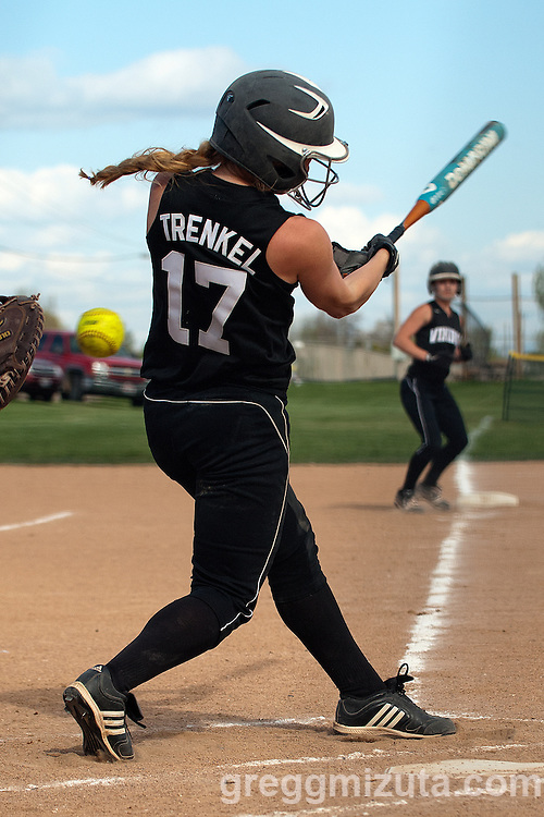 Vale's Amanda Trenkel takes a cut during the Parma softball game, April 15, 2014 at Parma, Idaho. Trenkel would go 3-5 with a double and 2 runs in Vale's 18-4 win.
