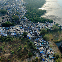 View of a slum in South Mumbai, seen from the roof of the World Trade Center.