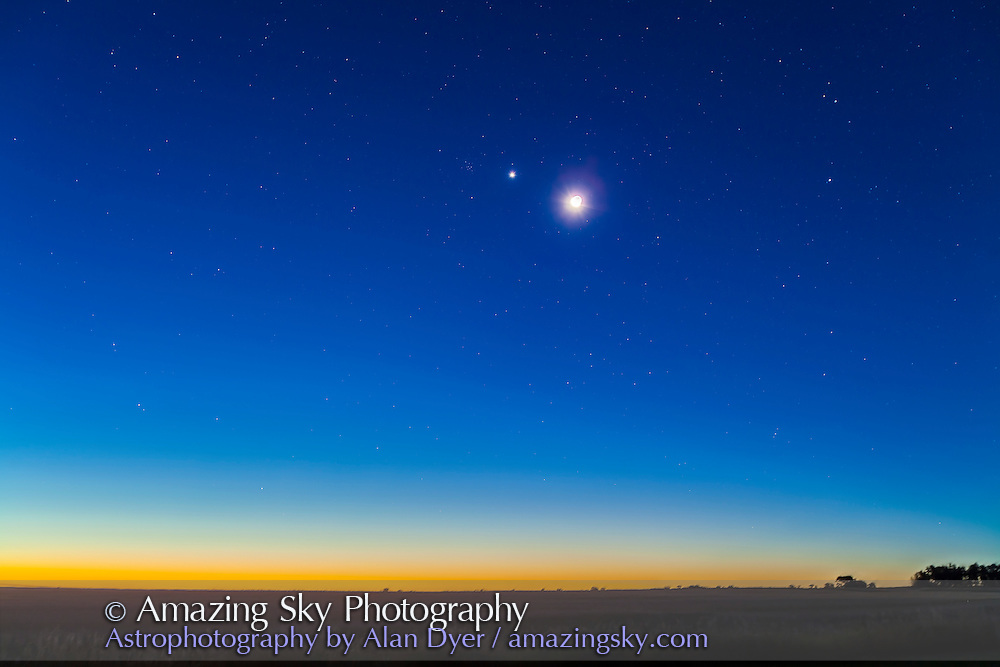 Venus and the waning crescent Moon at dawn. Venus and the Moon are just below M44, Beehive cluster in Cancer. Taken from home Sept 12, 2012, with Canon 5D MkII and 16-35mm lens at 35mm and f/4.5. This is a stack of four 30-second exposures at ISO 400, with the ground from one exposure only.