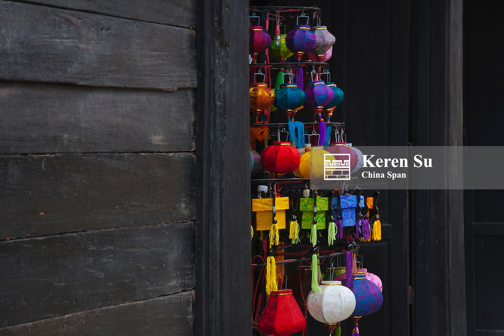 Selling colorful lanterns in Hoi An Ancient Town, UNESCO World Heritage site.
