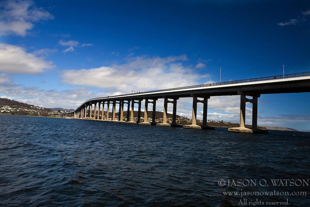The Tasman Bridge, spanning the Derwent River, Hobart, Tasmania, Australia