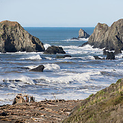 The Russian River drains Sonoma and Mendocino counties  in Northern California, USA and flows into the Pacific Ocean at Russian River State Marine Conservation area and Sonoma Coast State Park near Jenner.