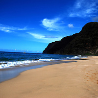 View of Barking Sands beach, Hawaii toward the cliffs