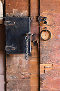 WY02285-00...WYOMING - Work box and door lock in the barn at Willow Creek Ranch.