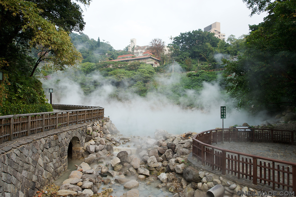 "Natural hot spring water rises from ""Hell Valley"" in Taipei, Taiwan's Beitou hot spring District."