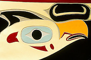 Detail on a carving adorning a ceremonial boat in Sitka Alaska