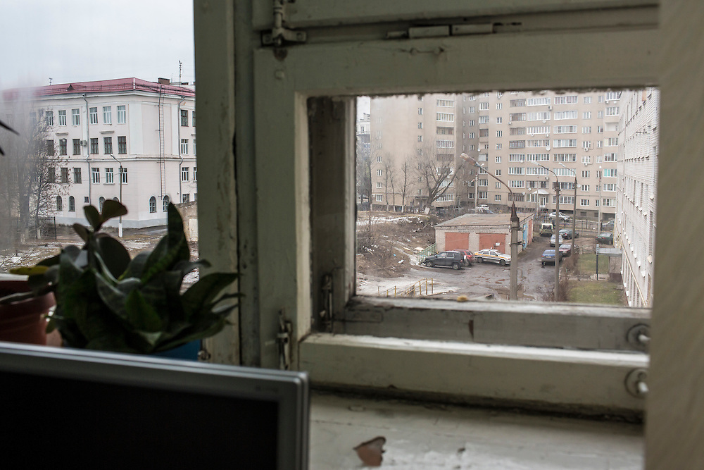 A view out the window of a computer science class taught by Larisa Ishkova at Kanyayev College on Tuesday, February 25, 2014 in Tver, Russia. Ishkova taught Alexander Panin, a Russian citizen who was arrested in the Dominican Republic in June 2013, and is set to be charged by federal authorities in the US with being part of a gang which robbed bank accounts via the Internet. Photo by Brendan Hoffman, Freelance