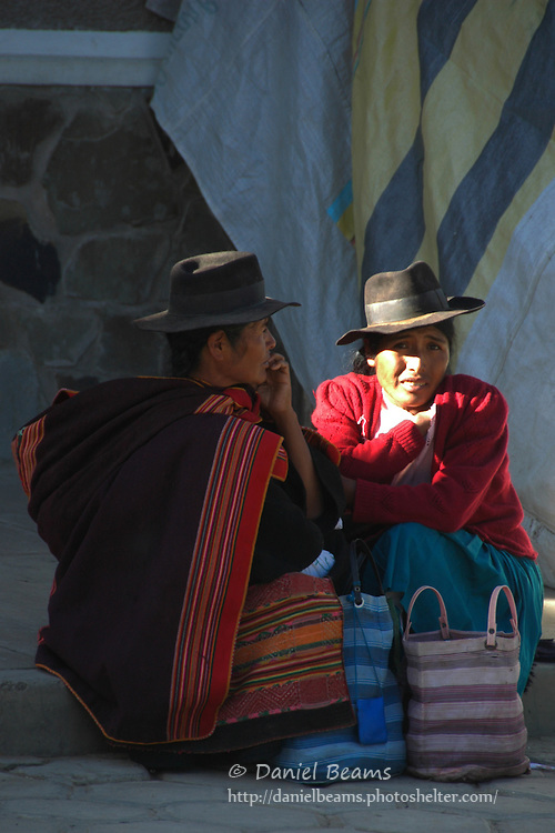 Quechua women deep in conversation, Tarabuco, Chuquisaca, Bolivia