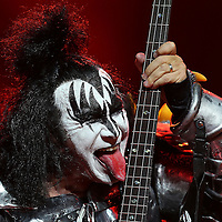 PERTH, AUSTRALIA - FEBRUARY 28:  Gene Simmons of KISS performs live on stage as part of their Monster Tour with Motley Crue and Thin Lizzy at Perth Arena on February 28, 2013 in Perth, Australia.  (Photo by Paul Kane/Getty Images)