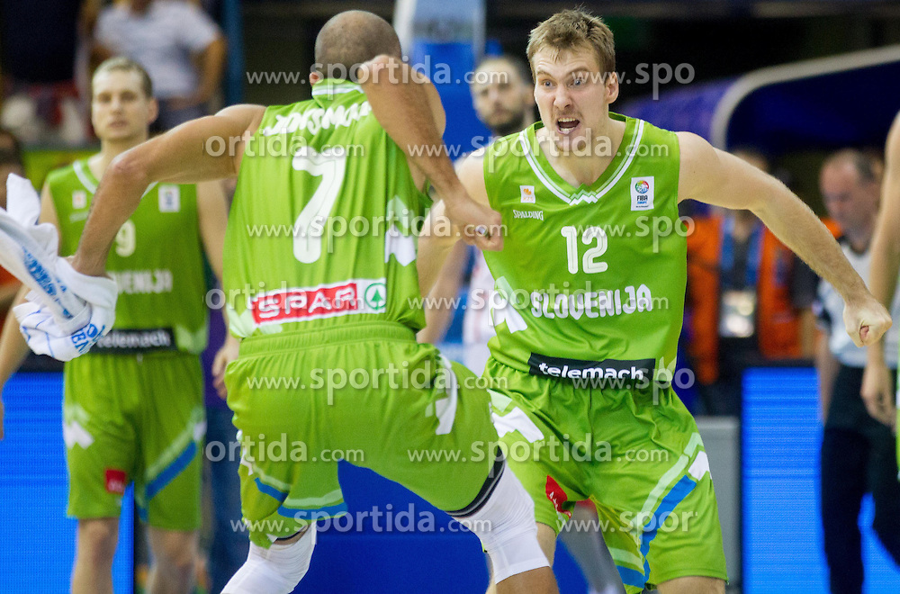 Nebojsa Joksimovic of Slovenia and Zoran Dragic of Slovenia celebrate after winning the basketball match between National teams of Georgia and Slovenia in Round 1 at Day 4 of Eurobasket 2013 on September 7, 2013 in Arena Zlatorog, Celje, Slovenia. (Photo by Vid Ponikvar / Sportida.com)