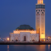 Casablanca, Morocco 15 October 2006<br /> Hassan II Mosque. <br /> This mosque was designed by the French architect Michel Pinseau and is the second largest in the world (after the Masjid al-Haram in Mecca).  <br /> Its minaret is also the world's tallest at 210m. Built on reclaimed land, almost half of the surface of the mosque lies over the Atlantic water. This was inspired by the verse of the Qur'an that states &quot;the throne of God was built on the water&quot;.<br /> Photo: Ezequiel Scagnetti