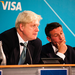 London, UK - 13 August 2012: Boris Johnson and Sebastian Coe during the final press conference of the Olympic Games to discuss the success of London 2012.