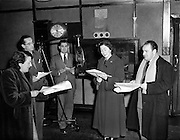 """'The Foley Family' Radio Eireann, Leo Leydon, Pegg Monahan, David Hayes and Florence Lynch.16/12/1952..""""The Foley Family"""" was a light comedy drama series written by David Hayes. The main actors George Green as Tom Foley and Peg Monahan as Alice, his wife. They also had a son and a daughter"""