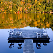 Private dock on a calm Amherst Lake Vermont USA