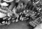 """IPLM0024 , South Africa, Venda, June 2001. Young """"maidens"""" take part in the Domba dance. The domba is part of an initiation process, some already have children though traditionally they are meant to be virgins."""