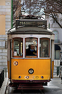 Lisbon's nº28 yellow tram at Chiado district, on his way through the central, most historic region of the city.