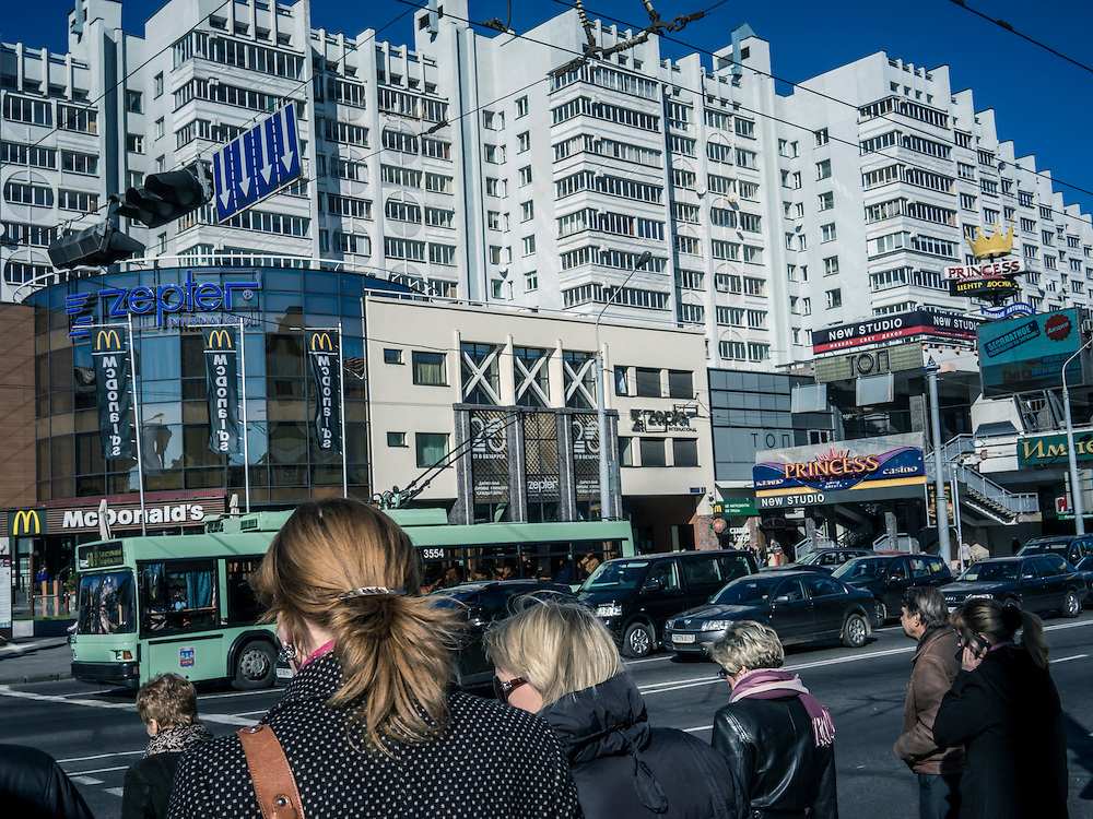 A street scene on Wednesday, October 7, 2015 in Minsk, Belarus. A presidential election is planned for Sunday with current president Alexander Lukashenko expected to secure a fifth term, though as in the past, the election is not expected to be declared free by monitors or the opposition.