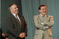 07.10.1995, Germany/Berlin:<br /> Oskar Lafontaine, SPD, Ministerpr&auml;sident Saarland und Gerhard Schr&ouml;der, SPD, Ministerpr&auml;sident Niedersachsen, Kundgebung auf dem Alexanderplatz zum 50. Jahrestag der Wiedergr&uuml;ndung der SPD<br /> IMAGE: 19951007-02/02-10<br />  <br />  <br />  <br /> KEYWORDS: Schroeder