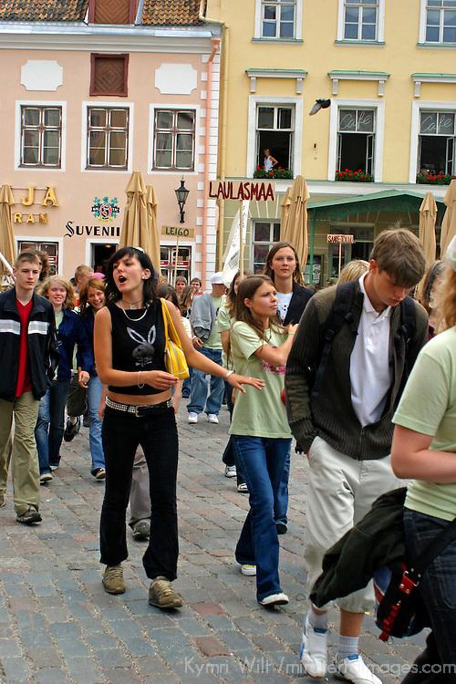 Europe, Estonia, Tallinn. Local Estonian teens march in demonstration in Tallinn.