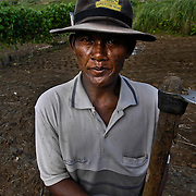 A rural Cambodian farmer pauses in his field near the border of Thailand.