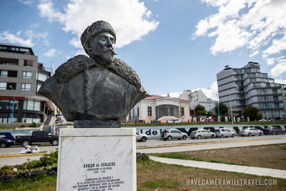 A bust of Belgian Antarctic explorer Adrien de Gerlache (1866-1934) on the waterfront of Ushuaia, Argentina.